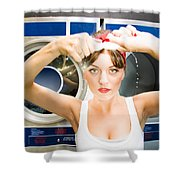 House Work Woman Shower Curtain