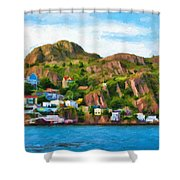 Houses On Hillside Shower Curtain