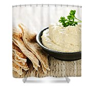Hummus With Pita Bread Shower Curtain
