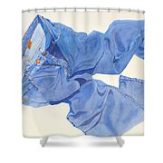 Watercolor   I Love My Jeans  Shower Curtain