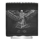 Icarus Flying Machine Patent Drawing Rear View Shower Curtain