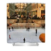 Ice Skating In New York City Shower Curtain