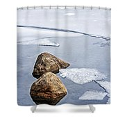 Icy Shore In Winter Shower Curtain