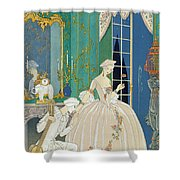 Illustration For 'fetes Galantes' Shower Curtain