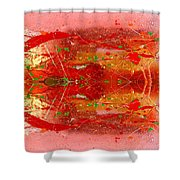 Golden Abstract Painting  Shower Curtain