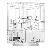Interior Office Rooms Shower Curtain