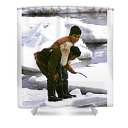 Inuit Boys Ice Fishing Barrow Alaska July 1969 Shower Curtain