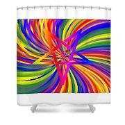 Inverted Rainbow Spiral Shower Curtain