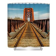 Iron Railroad Bridge Over Water, Texas Shower Curtain