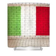 Italy Flag Brick Wall Background Shower Curtain