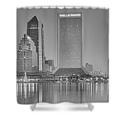 Jacksonville Florida Black And White Panoramic View Shower Curtain
