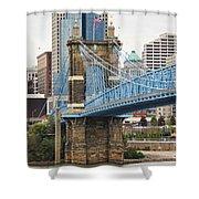 John Roebling Bridge 1867 Shower Curtain