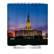 Jordan River Temple Sunset Shower Curtain