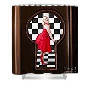 Keyhole Retro Fashion Portrait Of Stylish Girl Shower Curtain