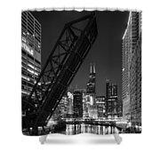Kinzie Street Railroad Bridge At Night In Black And White Shower Curtain