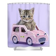 Kitten In Pink Car Shower Curtain