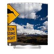 Kiwi Crossing Road Sign And Volcano Ruapehu Nz Shower Curtain