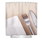 Knife Fork And Plate Shower Curtain