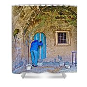 Knocking On A Blue Door Of Tufa Home In Goreme In Cappadocia-turkey  Shower Curtain