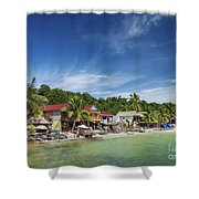 Koh Rong Island Beach Bars In Cambodia Shower Curtain