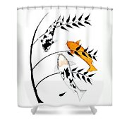 Koi Utsurimono Yellow Golden Ogon Bekko And Bamboo   Shower Curtain