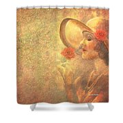 1-lady In The Flower Garden Shower Curtain
