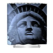 Lady Liberty In Cyan Shower Curtain