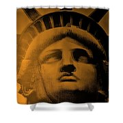 Lady Liberty In Orange Shower Curtain