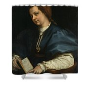 Lady With A Book Of Petrarch's Rhyme Shower Curtain