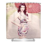 Lady With Red Parasol Shower Curtain