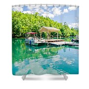 Lake Fontana Boats And Ramp In Great Smoky Mountains Nc Shower Curtain