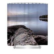 Lake In Autumn Sunrise Reflection Shower Curtain