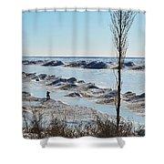 Lake Michigan Ice Shower Curtain
