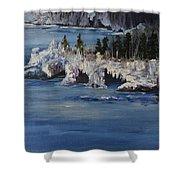 Lake Superior Ice Storm Shower Curtain