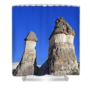 Landscape Of Limestone Fairy Chimneys At Zelve In Cappadocia Turkey Shower Curtain