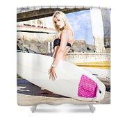 Landscape Surfing Portrait Shower Curtain