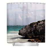 Large Boulder On A Caribbean Beach Shower Curtain