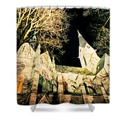 Large Stone Church At Night Shower Curtain