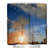 Launch Of Soyuz Vs07 2014 Shower Curtain