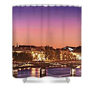 Left Bank At Night / Paris Shower Curtain by Barry O Carroll