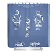 Lego Toy Figure Patent - Light Blue Shower Curtain by Aged Pixel