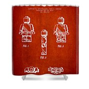 Lego Toy Figure Patent - Red Shower Curtain