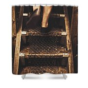 Legs Of A Bushwalking Man Climbing Wooden Stairs Shower Curtain
