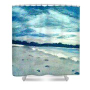 Lido Beach Evening Shower Curtain