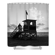 Lifeguard Hut On The Beach, 22nd St Shower Curtain
