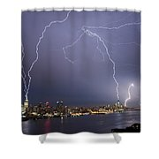 Lightening Over Manhattan Shower Curtain