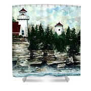 Lighthouse Cliff Shower Curtain