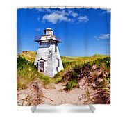 Lighthouse On The Dunes Shower Curtain
