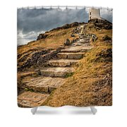 Lighthouse Steps Shower Curtain