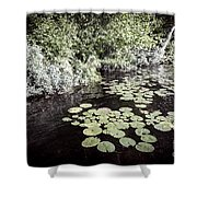 Lily Pads On Dark Water Shower Curtain